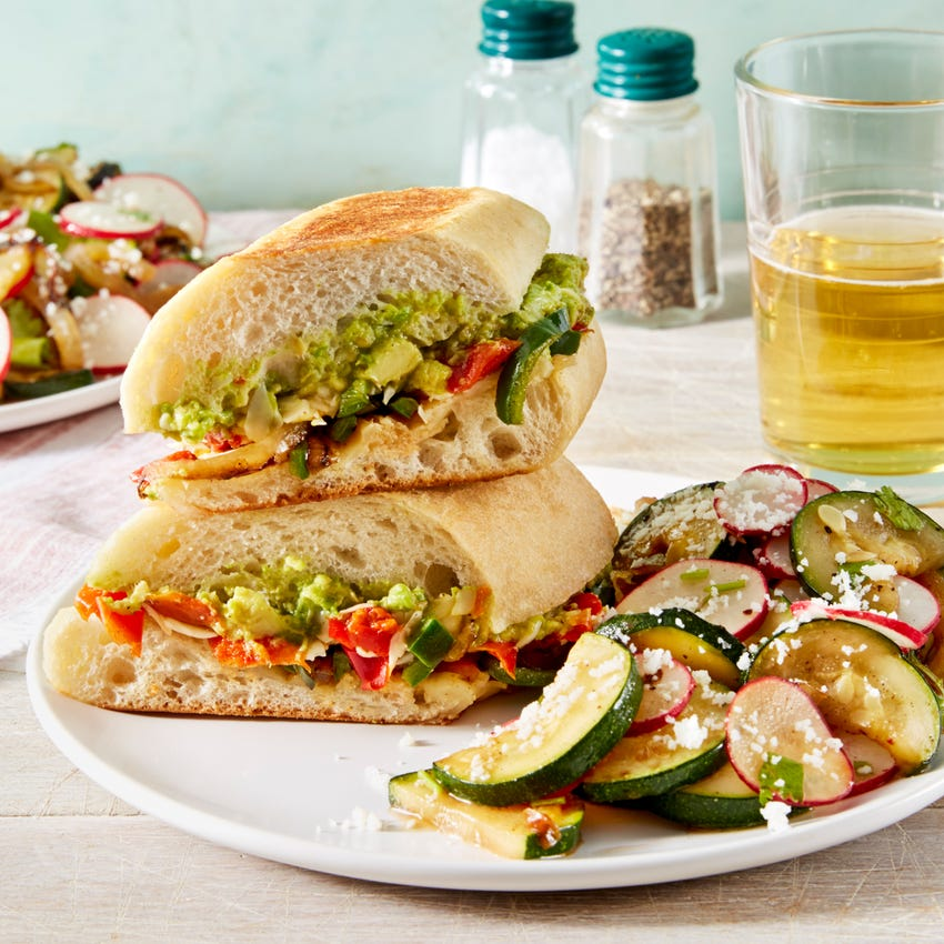 Spicy Poblano Pepper & Cheese Tortas with Summer Squash Salad
