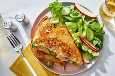 Mango Chutney Grilled Cheese with Apple & Romaine Lettuce Salad