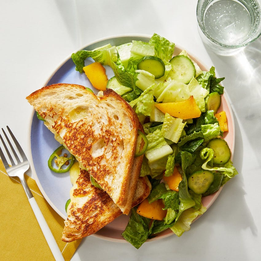 Mango Chutney Grilled Cheese with Persimmon & Romaine Lettuce Salad