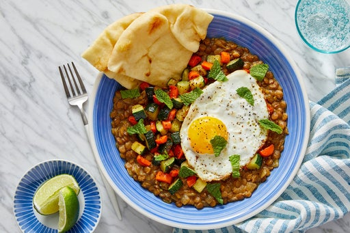 Peanut Lentil Curry with Fried Eggs & Garlic Naan