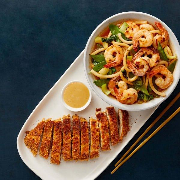 Crispy Chicken Katsu & Soy Mayo with Shrimp & Vegetable Udon