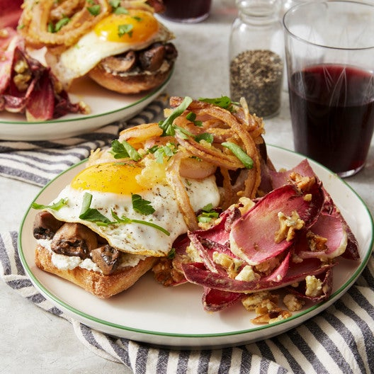 Fried Egg & Mushroom Tartines with Onion Rings & Endive Salad