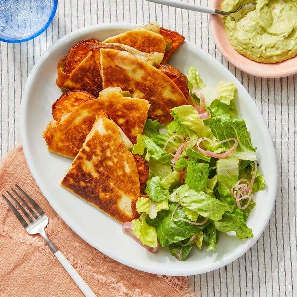 Roasted Sweet Potato Quesadillas with Creamy Guacamole