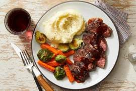 Steaks & Cheesy Mashed Potatoes with Steak Sauce & Roasted Vegetables