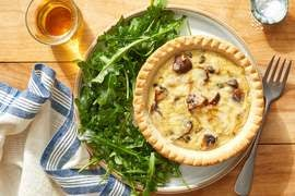 Smoked Gouda Quiche with Arugula & Honey Dressing