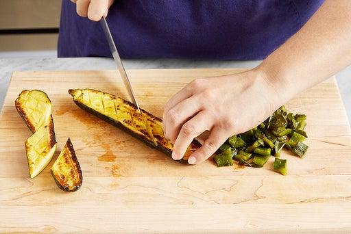 Roast the poblano & zucchini: