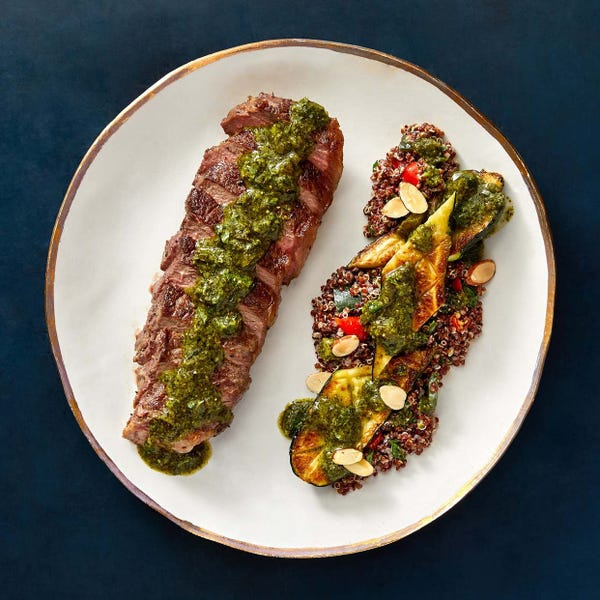 Seared NY Strip Steaks & Chimichurri with Roasted Zucchini & Quinoa Salad