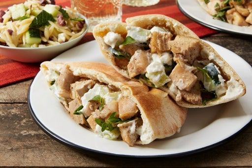 Greek Chicken Pitas with Cucumber & Orzo-Feta Salad