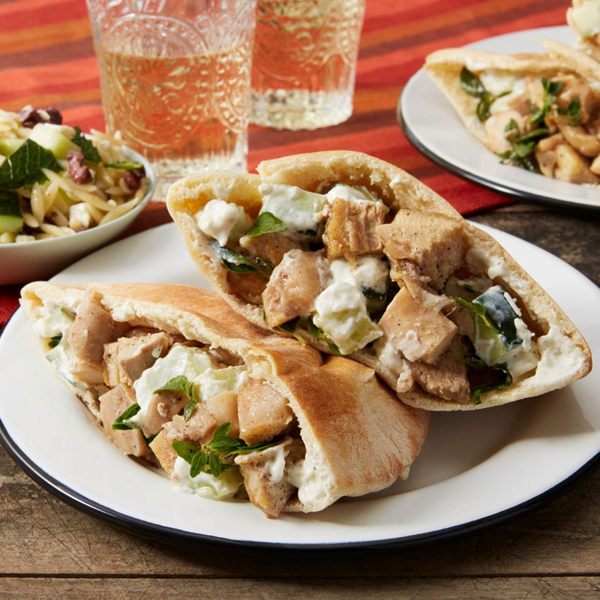Greek Chicken Pitas with Cucumber & Orzo-Feta Salad
