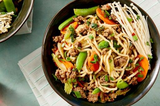Spicy Lamb & Beef Noodles with Sichuan Peppercorns & Enoki Mushrooms