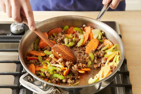 Cook the meat & vegetables: