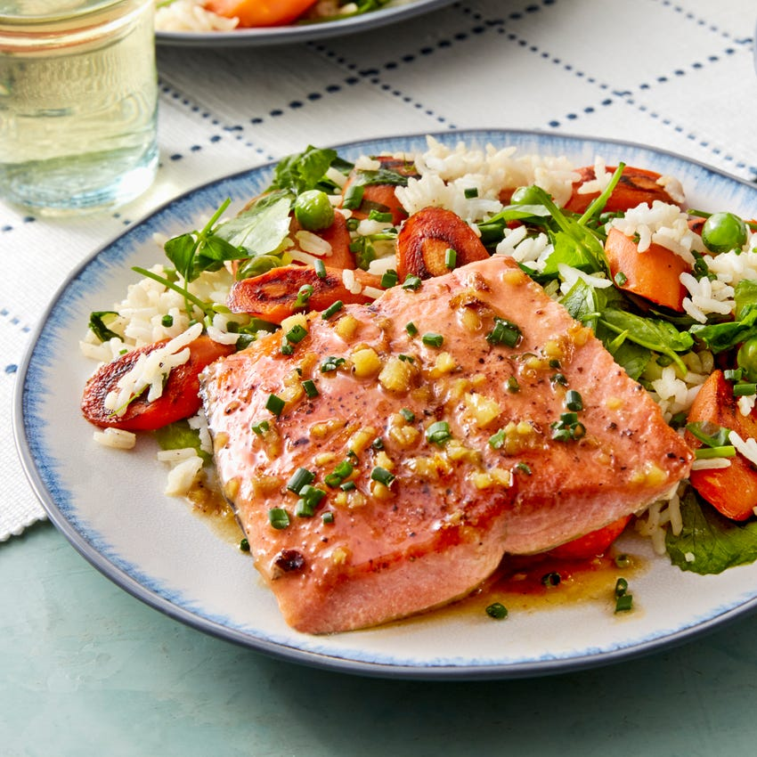 Seared Salmon & Lemon-Ginger Sauce with Carrots, Peas, & Rice