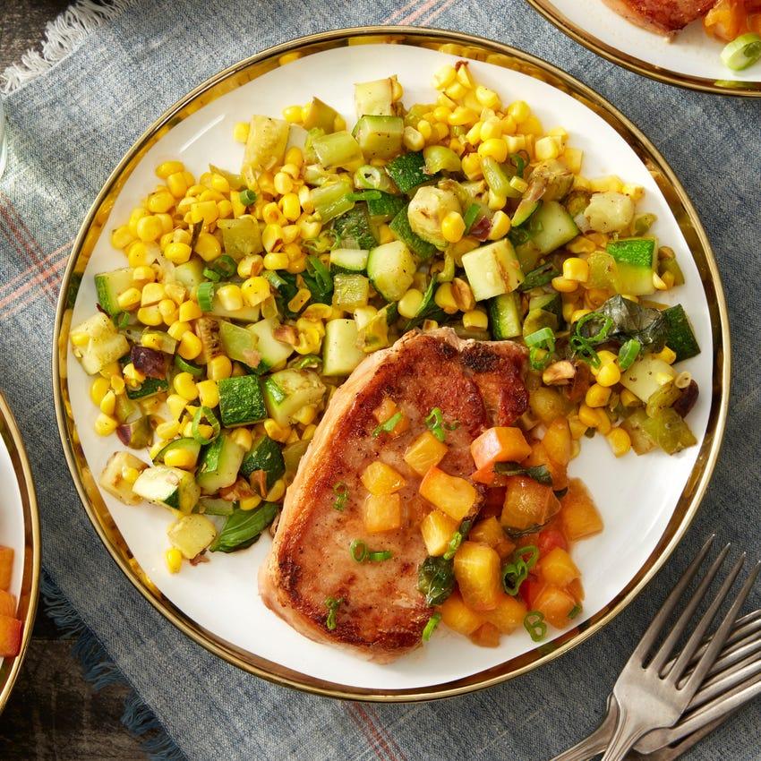 Pork Chops & Peach Sauce with Corn & Summer Squash Succotash