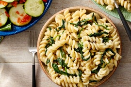 Stovetop Mac & Cheese with Summer Squash & Cucumber Salad