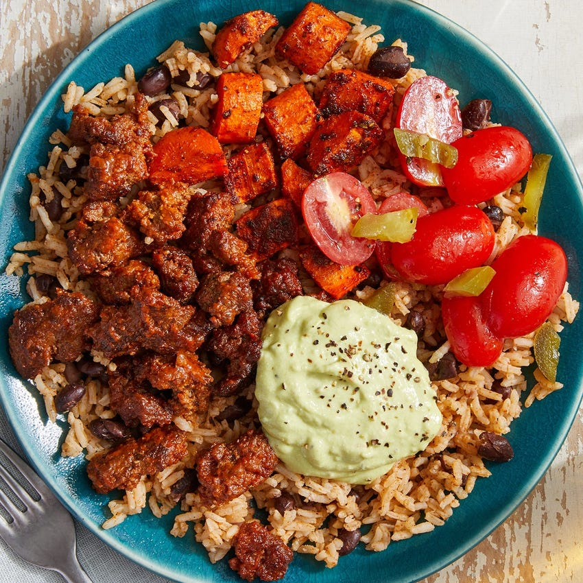 Mexican Beef & Rice Bowls with Creamy Guacamole & Tomato Salsa