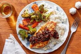 Chicken & Tamarind-Date Chutney with Dukkah-Roasted Vegetables & Almond Rice