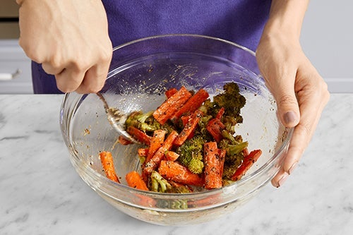 Roast & dress the vegetables: