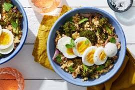 Roasted Broccoli & Fregola Sarda with Hard-Boiled Eggs & Tahini Dressing