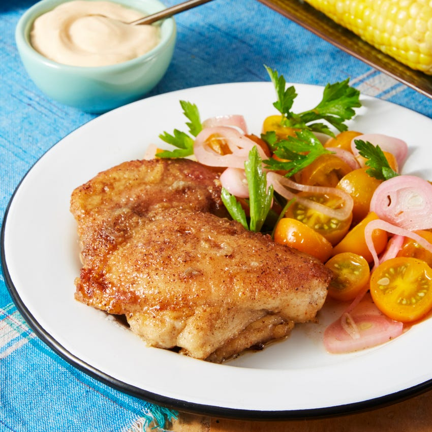 Spicy Pan-Fried Chicken with Corn on the Cob & Tomato Salad