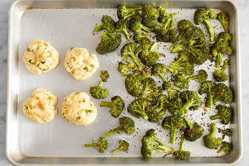 Bake the biscuits & broccoli: