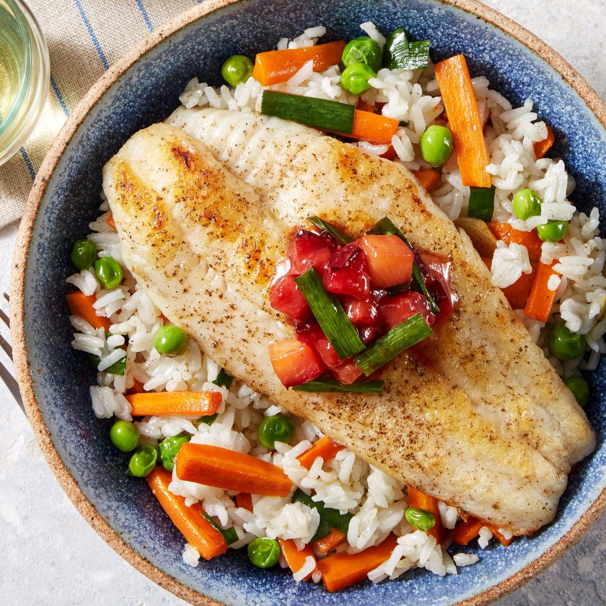 Crispy Catfish & Plum Sauce with Jasmine Rice, Sweet Peas, & Carrots