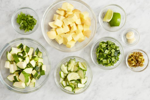 Prepare the ingredients & marinate the cucumber: