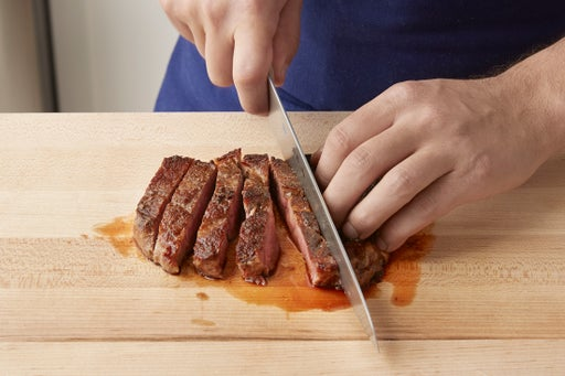 Slice the steak & plate your dish: