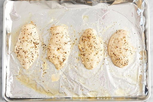 Bake & slice the chicken: