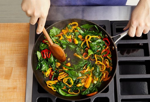 Cook the peppers & spinach: