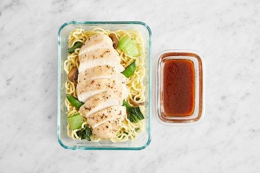 Assemble & Store the Chicken & Vegetable Ramen:
