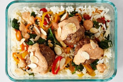 Finish & Serve the Spiced Meatballs & Veggie Rice: