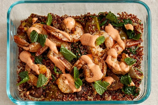 Finish & Serve the Za'atar Shrimp & Quinoa: