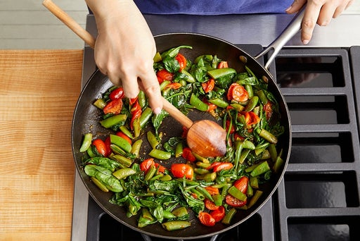 Cook the vegetables & finish the farro: