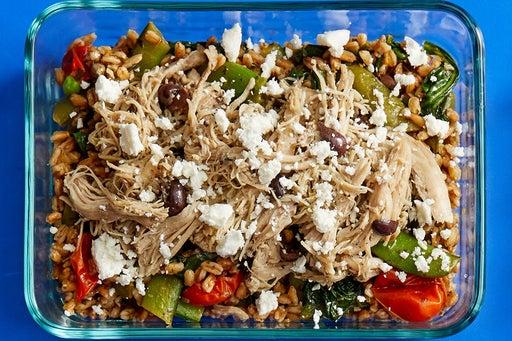 Finish & Serve the Shredded Chicken & Farro: