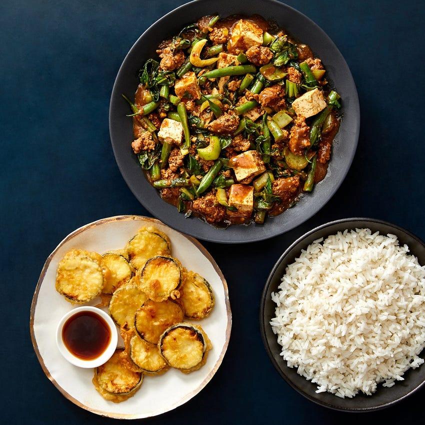 Spicy Mapo Tofu & Pork with Tempura Zucchini & Ponzu Sauce
