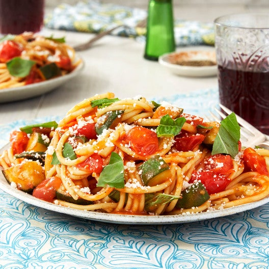 Saffron & Tomato Bucatini Pasta with Summer Squash & Basil