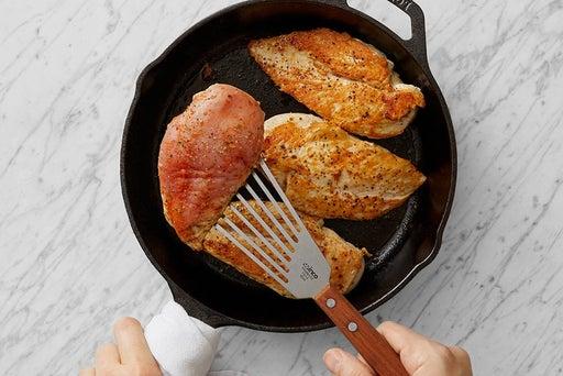 Cook & halve the chicken: