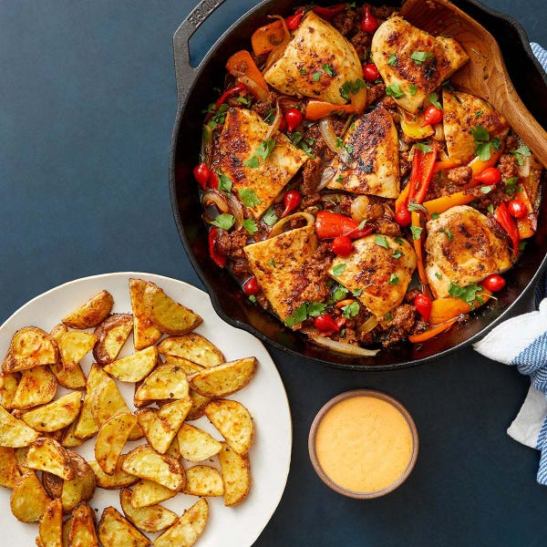 Chicken Scarpariello with Hot Italian Sausage & Sweet Peppers