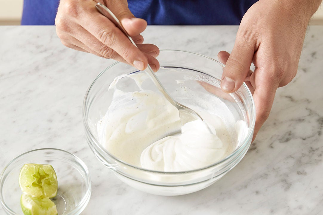 Make the lime yogurt & plate your dish: