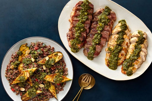 Seared NY Strip Steaks & Chicken with Quinoa, Roasted Zucchini & Chimichurri
