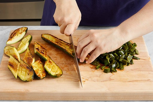 Roast the poblano pepper & zucchini: