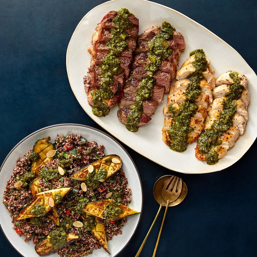 Seared NY Strip Steaks & Chicken with Quinoa, Roasted Zucchini & Chimichurri