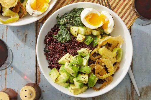 Purple Rice & Miso Spinach Bowls with Black Garlic & Cubanelle Pepper Tempura