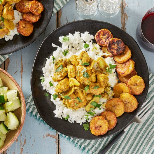 Caribbean Chicken Curry with Roasted Plantain & Coconut Rice