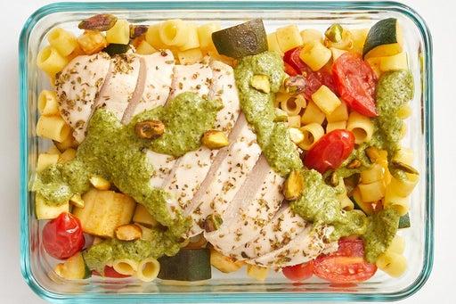 Finish & Serve the Oregano Chicken & Creamy Pesto: