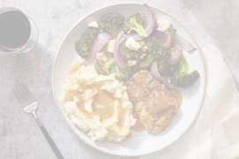 Za'atar Chicken Thighs with Mashed Potatoes & Lemon-Dressed Vegetables