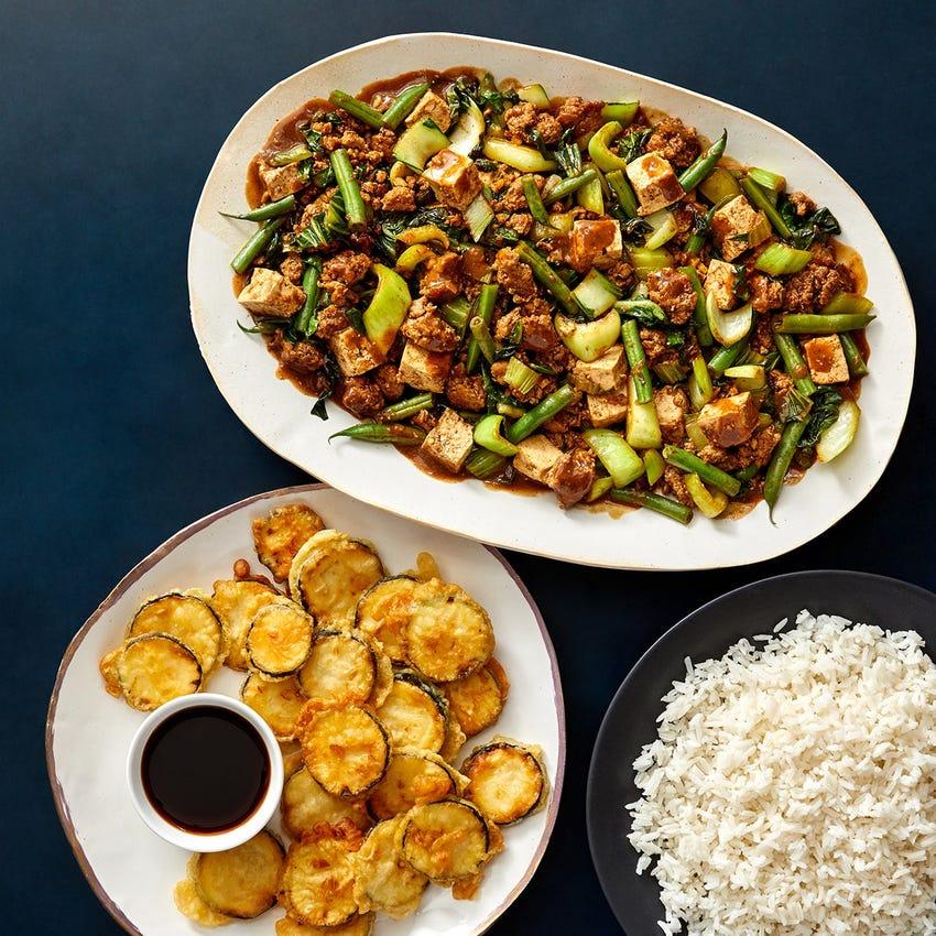 Pork & Mapo Tofu with Tempura Zucchini & Ponzu Sauce