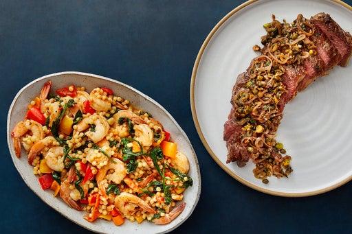 Seared Strip Steak & Oregano Pan Sauce with Calabrian Shrimp & Pearl Couscous