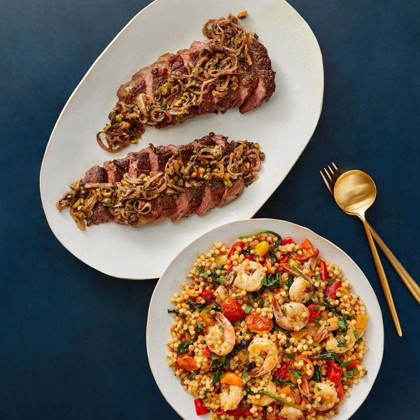 Seared Steak & Shrimp with Fregola Sarda, Spinach & Pistachios