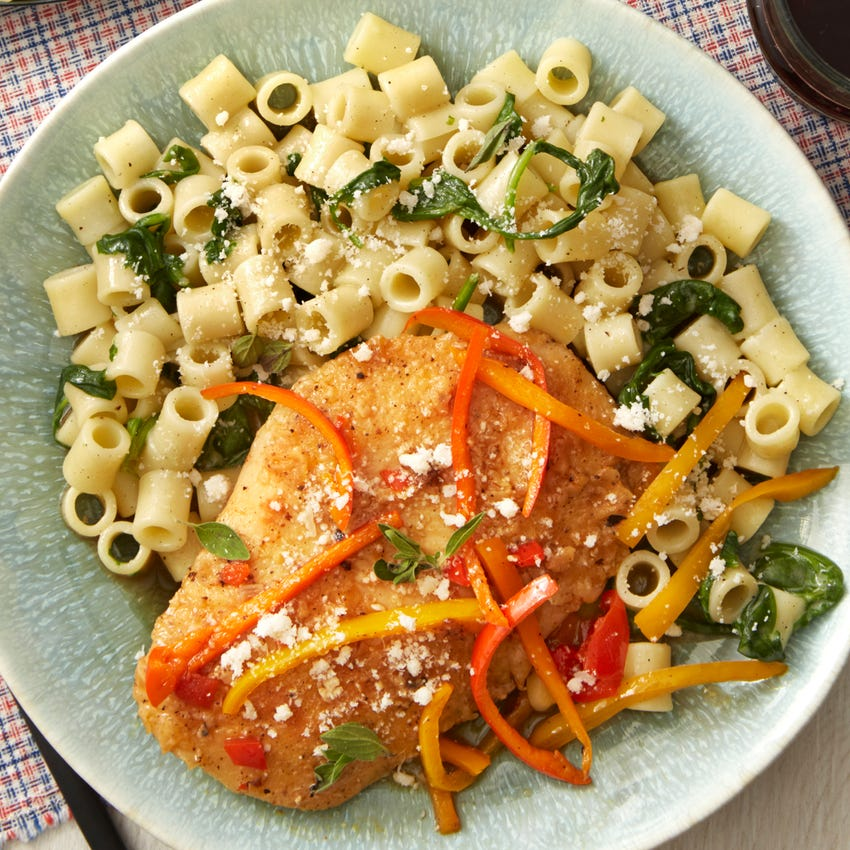 Sweet Pepper Chicken with Ditali Pasta & Spinach